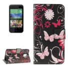For HTC Desire 526G Butterflies Pattern Leather Case with Holder, Card Slots & Wallet