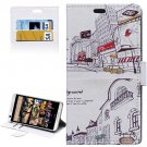 For HTC Desire 626 City Pattern Leather Case with Holder, Card Slots & Wallet