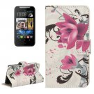 For HTC Desire 310 Flowers Pattern Leather Case with Holder, Card Slots & Wallet