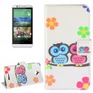 For HTC Desire 510 Owl Pattern Leather Case with Holder, Card Slots & Wallet
