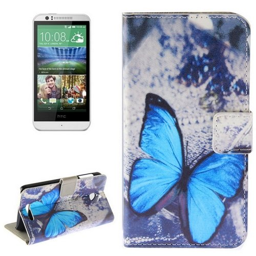 For HTC Desire 510 Butterfly Pattern Leather Case with Holder, Card Slots & Wallet