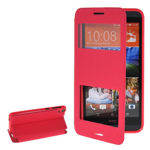 For HTC Desire 820 Magenta Flip Leather Case with Call Display ID & Holder