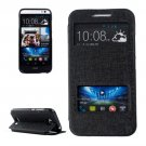 For HTC Desire 616 Black Flip Leather Case with Call Display ID & Holder