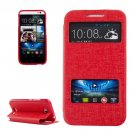 For HTC Desire 616 Red Flip Leather Case with Call Display ID & Holder