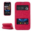 For HTC Desire 310 Magenta Oracle Leather Case with Call Display ID & Holder