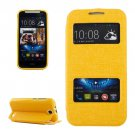 For HTC Desire 310 Yellow Oracle Leather Case with Call Display ID & Holder