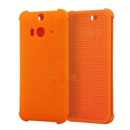 For HTC Butterfly 2 Orange Smart Cover Flip Dot View Protective Case