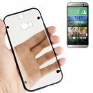 For HTC One M8 Black Transparent Plastic + Fluorescent Effect TPU Frame Case
