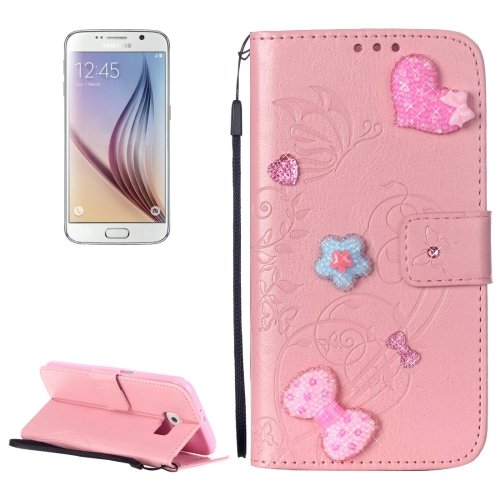 For Galaxy S6 Heart Diamond Pink Leather Case with Holder, Card Slots & Wallet