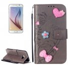 For Galaxy S6 Heart Diamond Grey Leather Case with Holder, Card Slots & Wallet