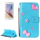 For Galaxy S6 Heart Diamond Blue Leather Case with Holder, Card Slots & Wallet