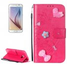For Galaxy S6 Heart Diamond Magenta Leather Case with Holder, Card Slots & Wallet