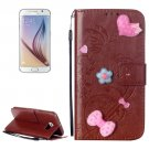 For Galaxy S6 Heart Diamond Brown Leather Case with Holder, Card Slots & Wallet