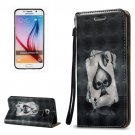 For Galaxy S6 3D Poker Pattern Leather Case with Holder, Card Slots & Lanyard