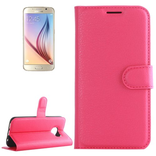 For Galaxy S6 Magenta Litchi Flip Leather Case with Holder, Card Slots & Wallet