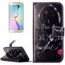 For Galaxy S6 Redlips Pattern Leather Case with Holder, Card Slots & Wallet