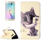 For Galaxy S6 Cat Pattern Leather Case with Holder, Card Slots & Wallet