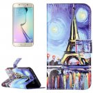 For Galaxy S6 Canvas Pattern Leather Case with Holder, Card Slots & Wallet