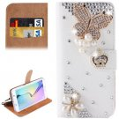 For Galaxy S6 Butterfly Diamond Leather Case with Holder & Card Slots