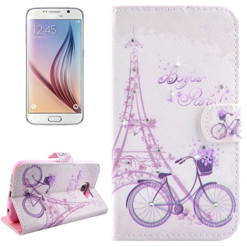 For Galaxy S6 Bicycle Pattern Leather Case with Holder, Card Slots & Wallet