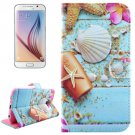 For Galaxy S6 Starfish Pattern Leather Case with Holder, Card Slots & Wallet
