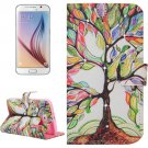 For Galaxy S6 Tree Pattern Leather Case with Holder, Card Slots & Wallet