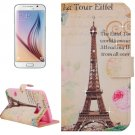 For Galaxy S6 Tower Pattern Leather Case with Holder, Card Slots & Wallet