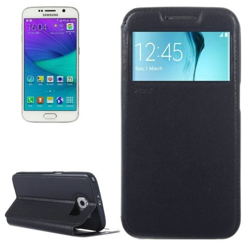 For Galaxy S6 Dark Blue Crazy Horse Leather Case with Card Slot & Caller ID