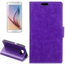 For Galaxy S6 Purple Crazy Horse Leather Case with Holder, Card Slots & Wallet