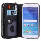 For Galaxy S6 Black Separable Leather Case with Zipper, Card Slots & Lanyard