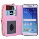 For Galaxy S6 Pink Separable Leather Case with Zipper, Card Slots & Lanyard