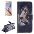 For Galaxy S6 Lion Pattern Leather Case with Holder, Card Slots & Wallet