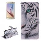 For Galaxy S6 Tiger Pattern Leather Case with Holder, Card Slots & Wallet