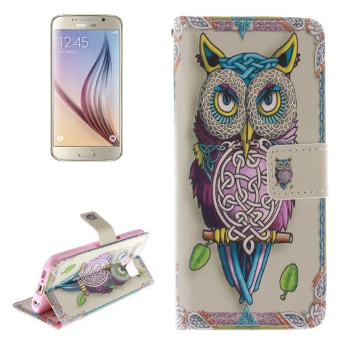 For Galaxy S6 Owl Pattern Leather Case with Holder, Card Slots & Wallet