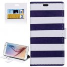 For Galaxy S6 Stripe Pattern Leather Case with Holder, Card Slots & Wallet