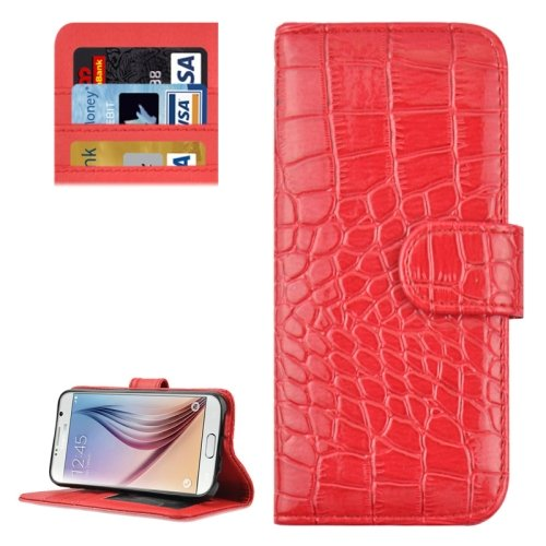 For Galaxy S6 Red Crocodile Leather Case with Holder, Card Slots & Wallet