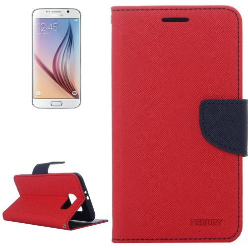 For Galaxy S6 Red Cross Leather Case with Card Slots & Wallet & Holder
