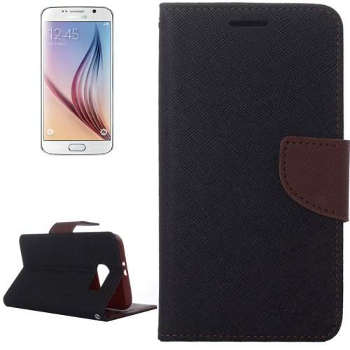 For Galaxy S6 Brown Cross Leather Case with Card Slots & Wallet & Holder