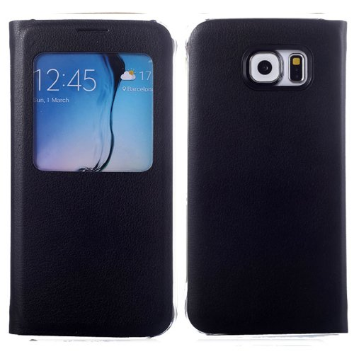 For Galaxy S6 Black Litchi Leather Case with Call Display ID & Sleep function