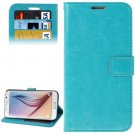 For Galaxy S6 Blue Crazy Horse Leather Case with Holder, Card Slots & Wallet