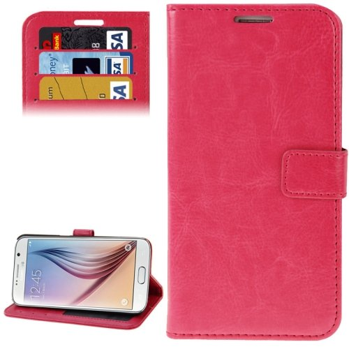 For Galaxy S6 Magenta Crazy Horse Leather Case with Holder, Card Slots & Wallet
