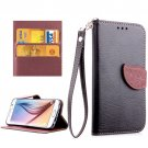 For Galaxy S6 Black Litchi Leaf Leather Case with Holder, Card Slots & Lanyard