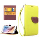 For Galaxy S6 Green Litchi Leaf Leather Case with Holder, Card Slots & Lanyard