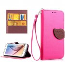 For Galaxy S6 Magenta Litchi Leaf Leather Case with Holder, Card Slots & Lanyard