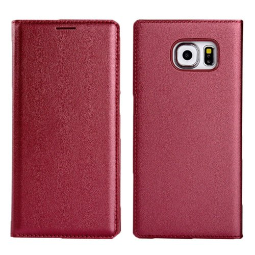 For Galaxy S6 Litchi Texture Dark Red Flip Leather Case with Card Slots