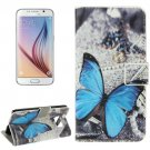 For Galaxy S6 Butterfly Pattern Leather Case with Holder, Card Slots & Wallet