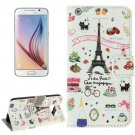 For Galaxy S6 Sweet Pattern Leather Case with Holder, Card Slots & Wallet