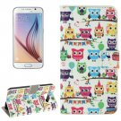For Galaxy S6 Owl Party Pattern Leather Case with Holder, Card Slots & Wallet