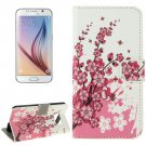 For Galaxy S6 Wintersweet Pattern Leather Case with Holder, Card Slots & Wallet