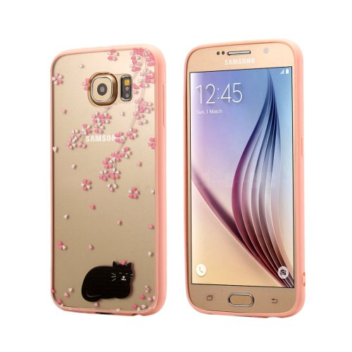For Galaxy S6 Black cat Pattern Transparent Plastic Protective Case